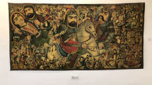 Narration of Ashura uprising in coffee house painting