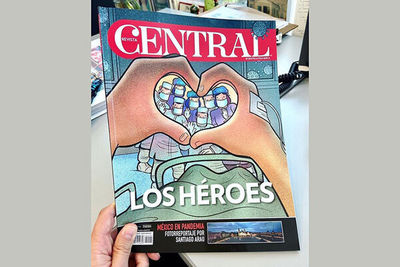 Mexican magazine Central spotlights health workers with cartoon by Alireza Pakdel
