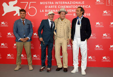08 L-R) Thomas Bidegain_ Jacques Audiard_ John C. Reilly and Alexandre Desplat attend _The Sisters Brothers_ photocall during the 75th Venice Film Festival
