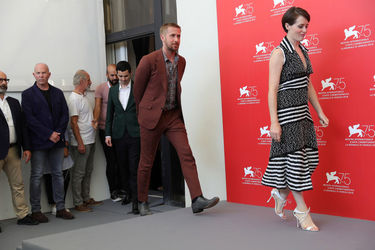 01 Director Damien Chazelle_ actors Ryan Gosling and Claire Foy attend _First Man_ photocall during the 75th Venice Film Festival
